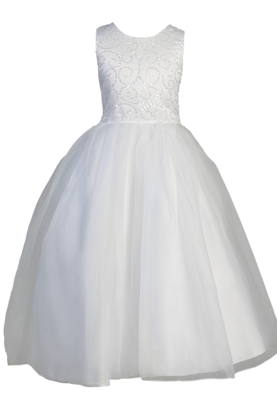 Girls Satin First Communion Dress with Swirled Sequin & Beaded Bodice SP610