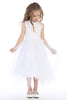 Satin Applique Girls Communion Dress w. Handkerchief Hem SP912
