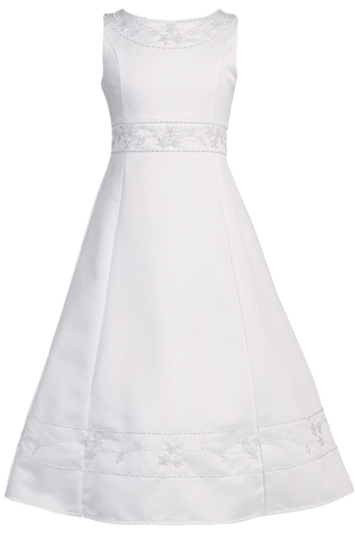 Satin A-Line Girls Plus Size Communion Dress w. Floral Beadwork  SP613