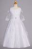 Girls Lacy Embroidered Tulle Communion Dress with 3/4 Sleeves & Bridal Buttons SP621