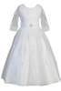 Crochet Lace Girls Communion Dress w. 3/4 Sleeves & Bridal Buttons  SP621