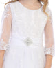 Floral Crochet Girls Communion Dress w. 3/4 Sleeves & Bridal Buttons  SP621