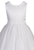 Flower Trimmed Satin & Tulle Girls First Communion Dress w. Pearls SP645