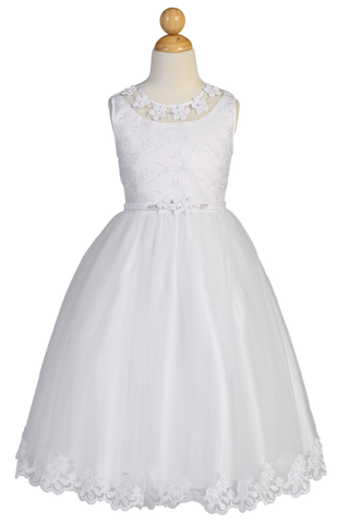 Floral Embroidered Tulle Girls Plus Size Communion Dress w. Flowers SP646