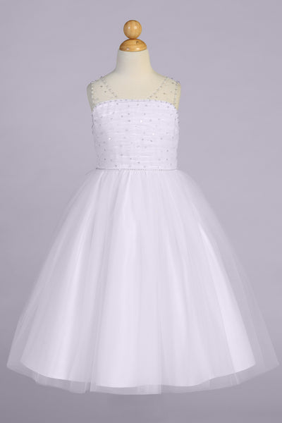 Beaded Ruched Tulle Girls Communion Dress with V-Back & Sequins SP647
