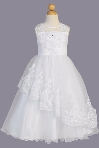 Girls Asymmetrical Tulle Communion Dress w. Lacy Appliques & Lettuce Hem SP648