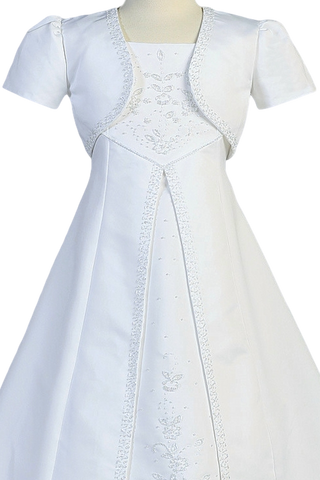 Satin A-Line Full Length Communion Gown w. Split Inset Skirt & Jacket  SP703