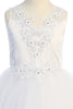 Ruffled Tulle & Satin Girls Full Length First Holy Communion Gown sp707