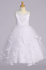 Girls Ruffled Tiered Applique Tulle & Satin Communion Gown 6-12 sp707