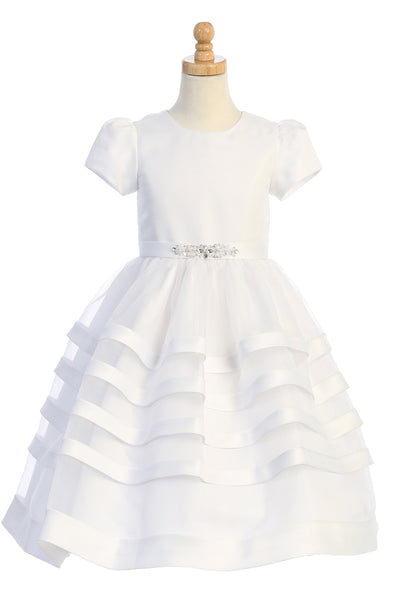 Tulle & Satin Trim Communion Dress Bridal Buttons Girls Plus Size 8x-14x sp708