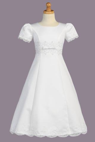 White Satin & Lace Trim Girls Plus Size A-Line Communion Dress SP713