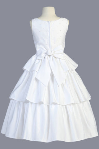Three Tiered Back Satin Communion Dress w. Pearl Trim Bodice  SP853