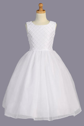 Pintucked Shantung & Organza Girls Communion Dress w. Pearls SP926