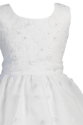 Girls Flower Embroidered Organza Holy Communion Dress w. Tiered Skirt  SP930