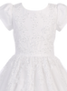White Tulle Communion Dress w. Beading Appliques  SP977