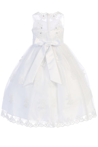 Floral Applique Organza Girls Plus Size Communion Dress w. Illusion Neckline SP982