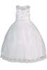 Floral Applique Organza Girls Communion Dress w. Illusion Neckline SP982