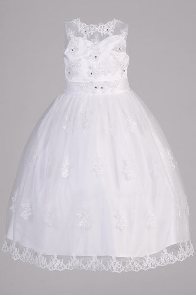 Girls Applique Organza Communion Dress with Illusion Neckline SP982
