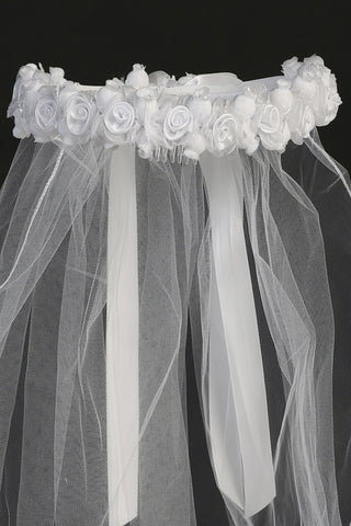 Girls White Communion Veil with Satin & Organza Rosette Crown T12