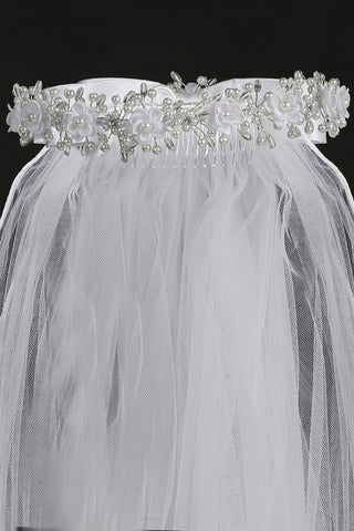 Corded Flowers and Pearl Accented Girls White Communion Veil T20