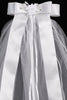 Corded Satin Daisy Crown Girls Communion Veil w. Rhinestones & Pearls T22