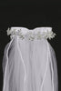 Girls White Communion Veil w. Crystal Flowers & Rhinestones T29