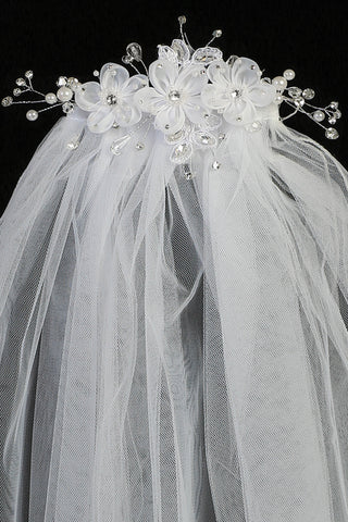 Girls Communion Comb Veil w. 3 Organza Flowers, Applique & Pearls T301