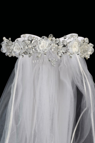 Girls Crystal & Organza Flowers Communion Veil w. Rhinestones & Pearls T409
