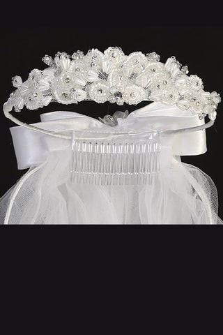 "Pearl & Beaded Crown Tiara 24"" Girls Communion Veil"
