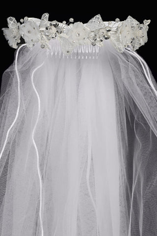 Girls Crystal & Organza Flower Communion Veil w. Lace Ribbon T426