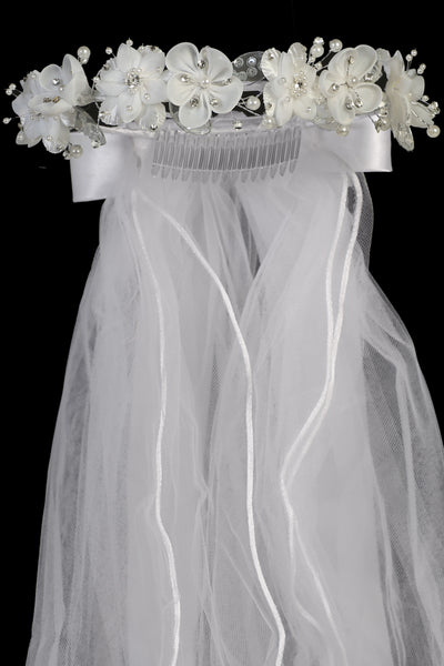 Double Flower Girls Communion Veil w. Sequined Mesh Accents T442