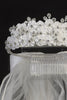 3-Tiered Satin Flower & Rhinestone Crown Girls Communion Veil