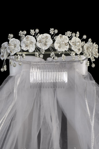 Rhinestone & Satin Flowers Girls Communion Veil with Bead Flowers T456