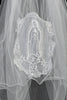 "Girls Virgin Mary Applique White 26"" Communion Comb Veil"