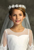 "Girls Fabric & Crystal Flower Crown with 26"" First Holy Communion Veil Veil039"