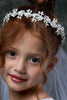 Silver Floral Leaves & Crystals Goddess Crown w. White Communion Veil Veil019