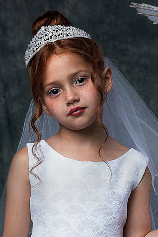 Full Rhinestone Crown Tiara Communion Veil w. Sparkling Gems Veil024