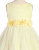 Girls Yellow Mesh Overlay Dress with Taffeta & Chiffon Flowers  KD332