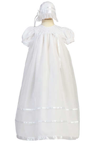 Infant Girls Organza Christening Gown w. Embroidery & Ribbon Trim 2210
