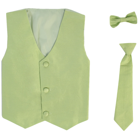 Apple Green Boys Poly-Silk Vest & Tie Set  735