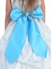 AQUA BLUE - BL90P POLY SILK SASH & FLOWER PIN