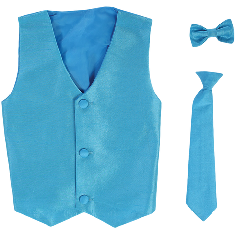 Aqua Vest & Tie Set Poly Silk w Necktie or BowTie Boys (735)