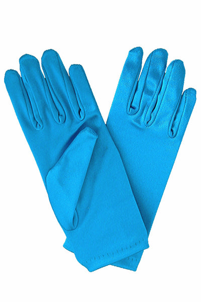 Girls Aqua Blue Satin Short Wrist Length Gloves