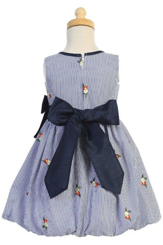 Navy Striped Dress w Embroidered Flowers & Tucked Hem M756