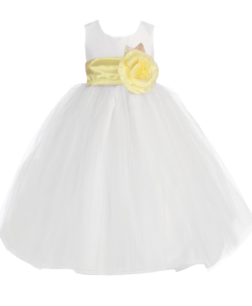 Size 4t White Polysilk Tulle Flower Girls Dress W Removable