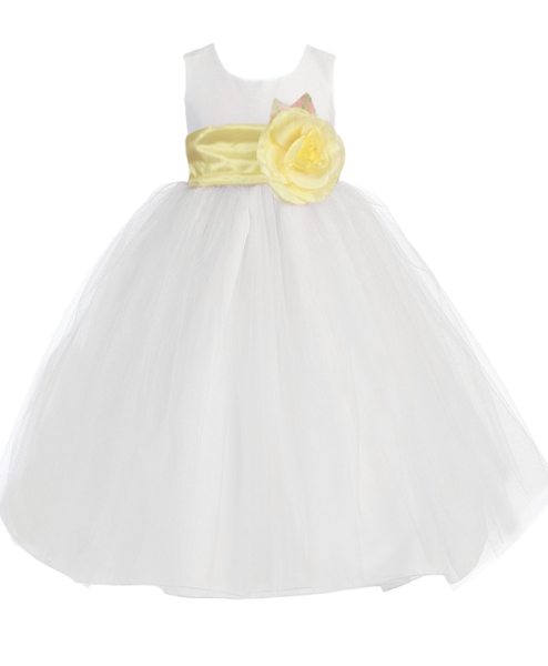 (Sale) Size 4T White Tulle Flower Girls Dress w. Removable Yellow Sash