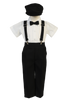 Black Suspender Pants & Shirt 5 Pc Spring Outfit Baby to Little Boys (G825)