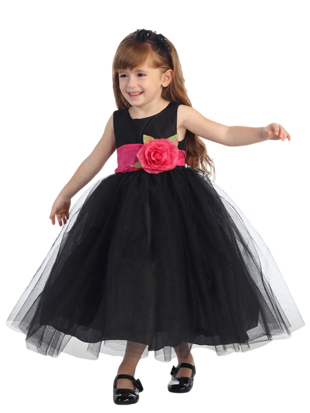 Black Polysilk Flower Girl Dress w. Ballerina Tulle Skirt & Custom Sash  BL228