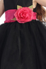 Black Tulle & Poly Silk Blossom Flower Girls Dress w Fuchsia Sash (BL228)