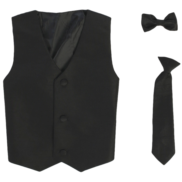 Boys Black Poly-Silk Vest & Tie Set  735